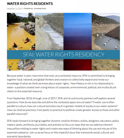 Courney M. Leonard to participate as a Local Artist In Residence at the Santa Fe Art Institute as a part of their WATER RIGHTS thematic residency