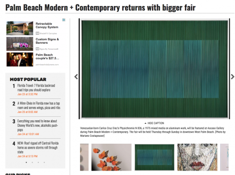 Tansey Contemporary Highlighted in Palm Beach Daily News
