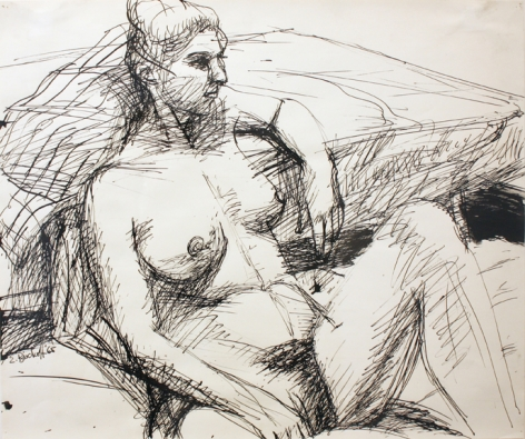 Seated Nude Lying Against Bed 1965