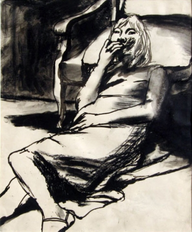Elmer Bischoff, Girl Leaning Against Chair, c. 1965