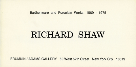 Catalog cover, 'Richard Shaw: Earthenware and Porcelain Works 1969-75,' Frumkin/Adams Gallery, 1990
