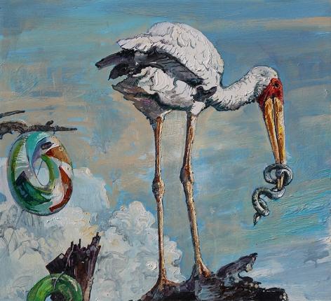 Amer Kobaslija, Stork with Snake, 2017