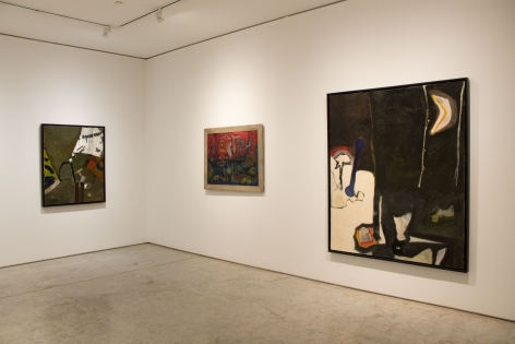 Installation view, A New Gesture: Elmer Bischoff, 1946-50, George Adams Gallery, New York.