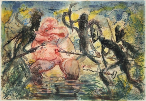 George Grosz Attacked by the Stick Men, 1947