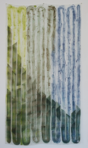 """100 Footer Wide,dye and ink on silk, 80"""" x 45"""", 2016"""
