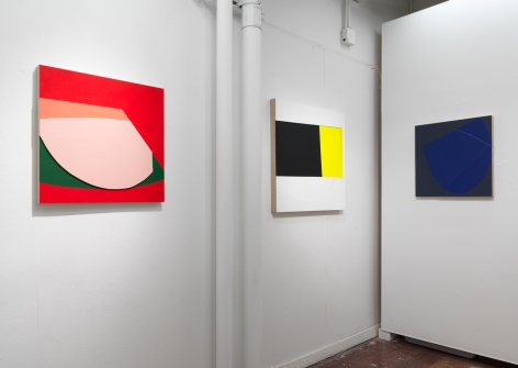"Installation view, Project Space, Jason Stewart, ""Color Reliefs"", 2017"