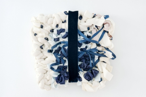 Air Sample (blue), 2013, fabric, ribbon, mixed media