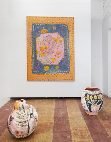 An installation image of Jennifer Rochlin's solo exhibition featuring three ceramics vessels on the floor and a large painting behind them