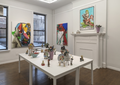 """An installation image of """"Belonging,"""" a two person show with ceramics by Jessica Perelman and paintings by Yael Ben-Simon at Johannes Vogt."""