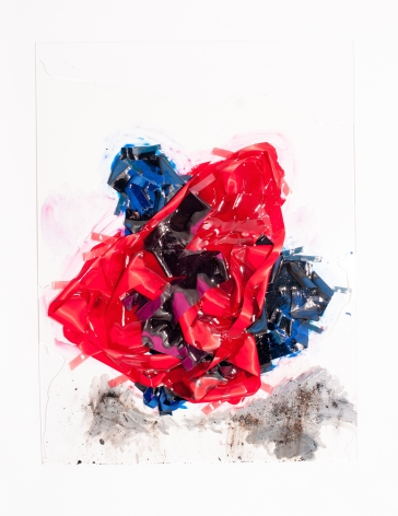 """Vadis Turner, Two Bells, ribbon, ash, acrylic, and mixed media, 36"""" x 48"""", 2016"""