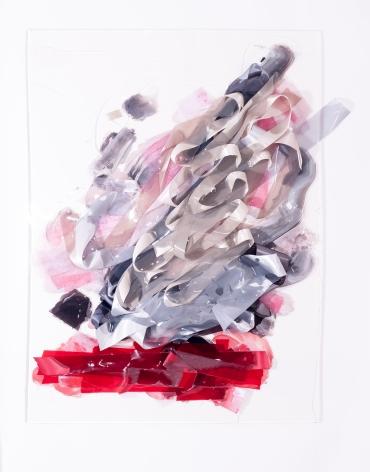 "Vadis Turner,Fruit Beating Smoke Tree,ribbon, acrylic resin, and mixed media, 36"" x 48"", 2016"