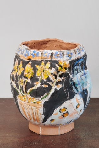 A large hand-built ceramic pot with a glaze painting of flowers and other illustrations