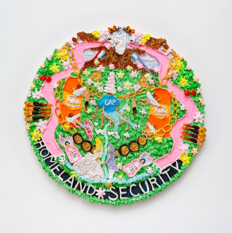 a round painting with high-relief acrylic piping. the bottom of the painting reads 'homeland security', among a field of grass. two pink slides are on either side.
