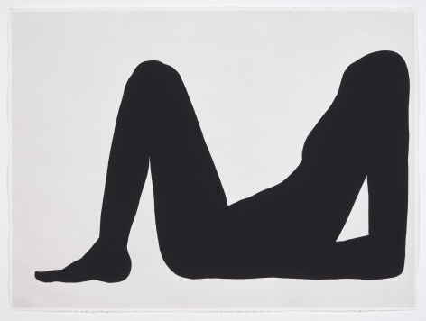 the black profile of a headless body reclining facing left on paper