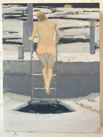 Ice Bather; Gray Day, 2015, Oil on linen