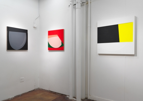 """Installation view, Project Space, Jason Stewart, """"Color Reliefs"""", 2017"""