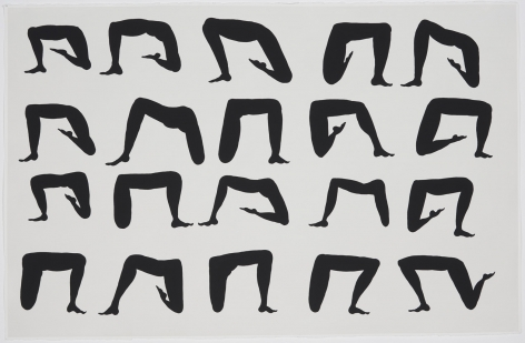 a grid of disembodied black thighs, legs, and feet on white paper
