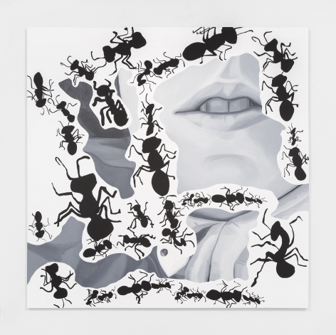 A painting by Erika Hickle with ants and lips.