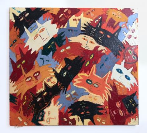 A painting of cats by Hannah Cosac Naify.