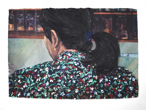 Nape (Ambereen at home), acrylic on handmade Indian Khadi paper, dimensions approx. 43 x 53 inches (will double check later today), 2019