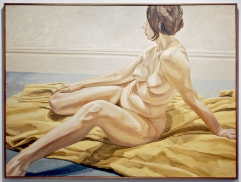 Philip Pearlstein, FEMALE NUDE ON YELLOW DRAPE, 1965