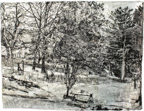 View of Garden from New Studio Window, Winter, 2016