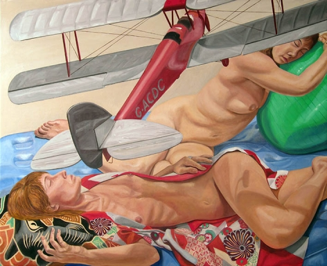 Models Lying Down with Model Biplane and Exercise Ball, 2014, Oil on Canvas