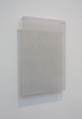 DIAPHAN 46, GRAY WHITE/PTHALO BLUE WHITE, 2009, Acrylic on aluminum