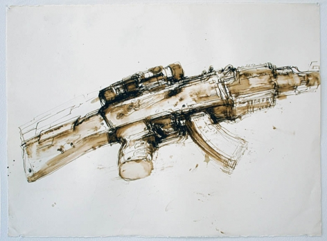 Untitled, 2013, Gesso, Walnut Ink and India Ink on Paper