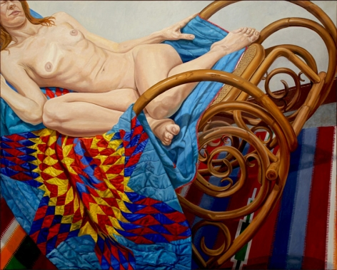 Model on Bentwood Rocker and American Quilt, 2012, Oil on canvas