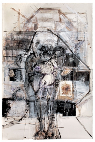 Shakespeare's Pirate, 2011, Gesso, acrylic, walnut ink, India ink, chalk, sharpie, thread and graphite on paper