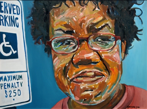 Renee with Handicap Sign, 2011, Oil on canvas