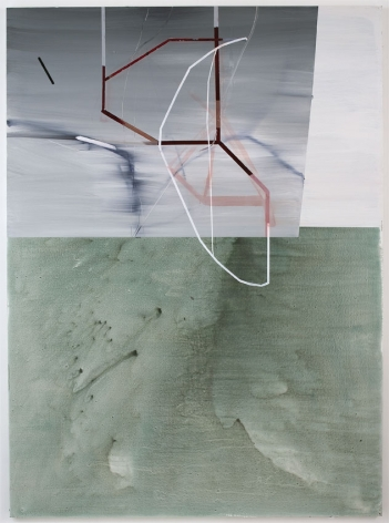 CLOTHES LINE, 2007, Latex, ink, pumice on canvas