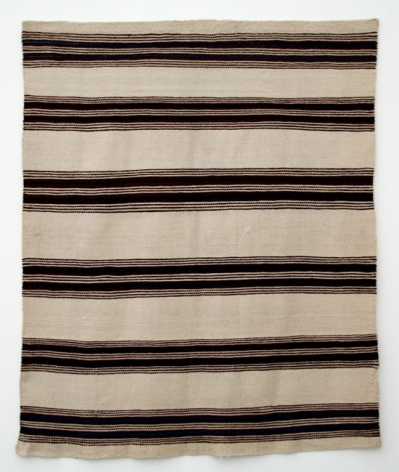 NAVAJO STRIPED BLANKET, ca. 1860, White and brown are undyed native handspun;