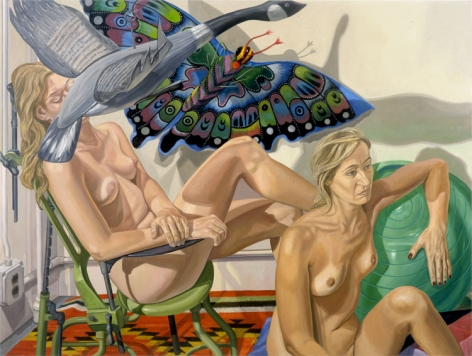 TWO NUDES WITH FLYING GOOSE,, BUTTERFLY & EXAMINATION CHAIR, 2007