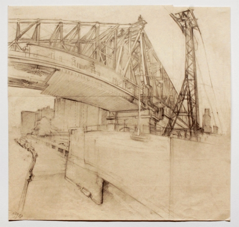 QUEENSBOROUGH BRIDGE WITH ROOSEVELT ISLAND TRAMWAY, 2007, Pencil on pink paper with blue threads