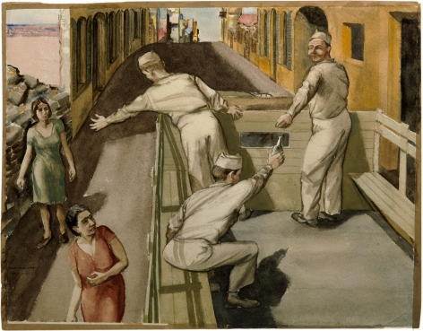 Watercolor painting by Philip Pearlstein