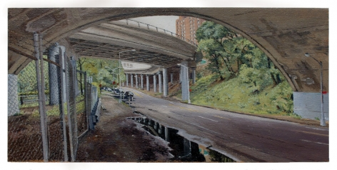 Below the Hospital Complex at 168th Street, 2012, Oil on canvas