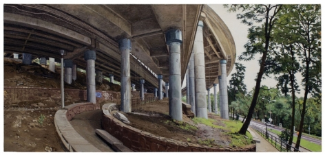 Under an Off-Ramp from the George Washington Bridge, 2011, Oil on canvas
