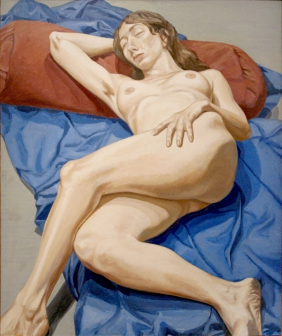 NUDE ON A BLUE DRAPE, 1964, Oil on canvas