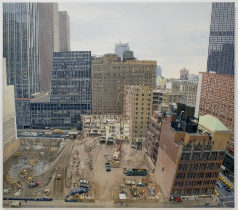 Demolition and Excavation on the Site of the Equitable Life Assurance Society's New Tower at 7th Avenue and 52nd Street, 1983, Oil on Canvas