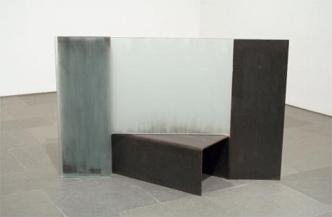 IS, WAS (CHANCING), 1975-76, Etched glass, steel and steel cable