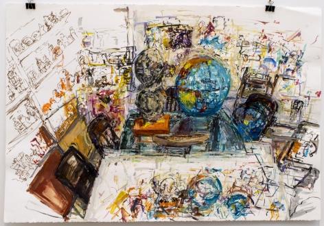 Judy Glantzman, Globe and double heads,2014