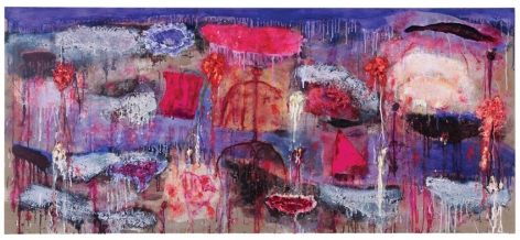 THE OTHER SIDE OF THE MOUNTAIN, 2009, Oil, acrylic, paper mache, cloth, dried flowers