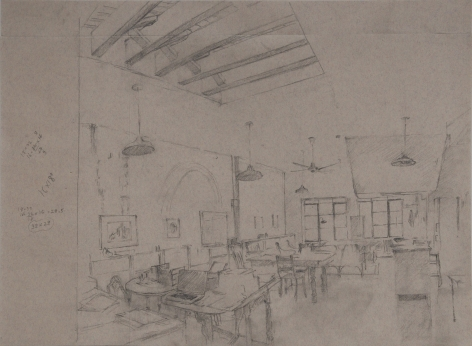 Studio, Grey Morning,2014, Graphite on paper with blue and red threads