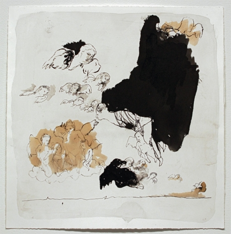 Untitled (Angels Putti), 2007, Ink Wash and Gesso on Paper