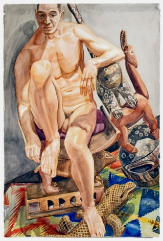 NUDE MALE WITH AFRICAN, CARVINGS, 2010