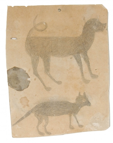 Hound Dog and Cat (Early), c. 1939, Pencil on Cardboard