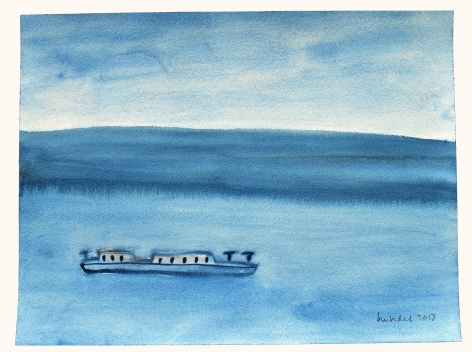 Untitled/Boat, 2017, Watercolor on paper