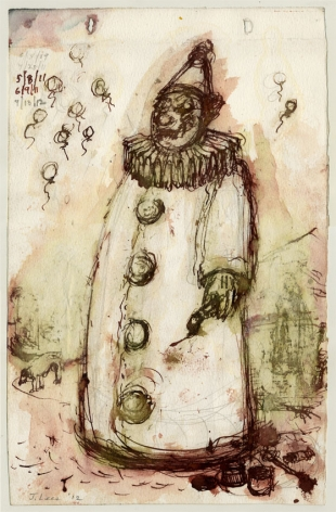 Untitled (Clown), 2009-2012, Pencil, Watercolor and Ink on paper